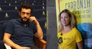 Vinicio Marchioni e Milena Mancini durante le interviste presso il Cine-Teatro di Piazza Roma.