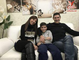 La famiglia Carrus: Monica, Marco e Salvatore.