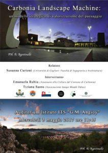 """Foto della locandina della conferenza """"landscape machine""""."""