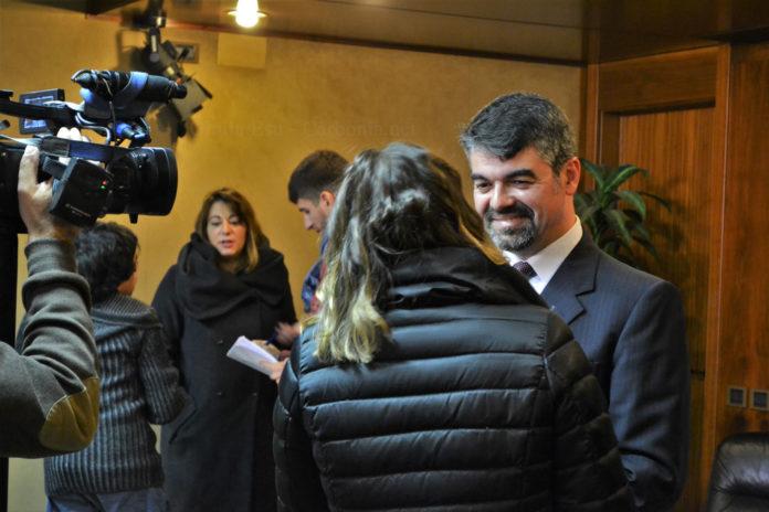Paolo Serra intervistato per l'inaugurazione del Cineporto.