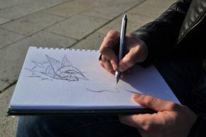 Dettaglio mano, Giuseppe Tuveri disegna.